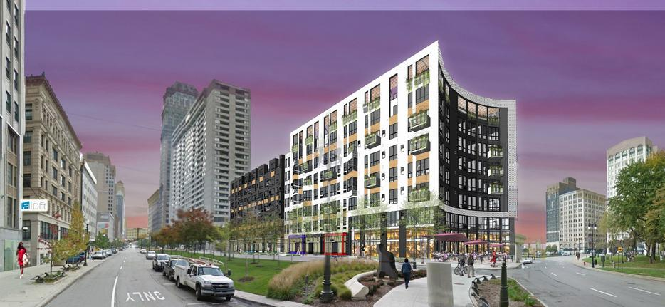 Mixed-use development under construction in Detroit's central business district