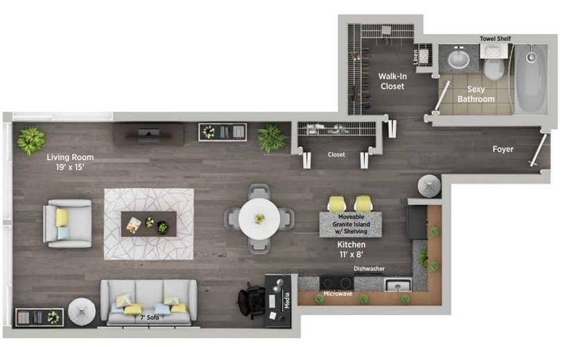 860 North Dewitt Pl., Chicago, IL - 1,545 USD/ month