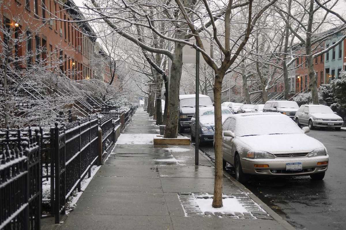 Sidewalks and street lined with cars covered in snow