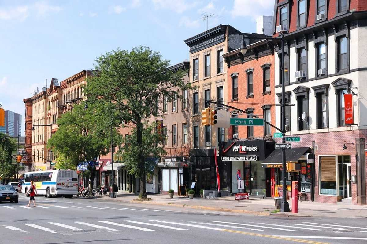 Street view of buildings in the Prospect Heights neighborhood