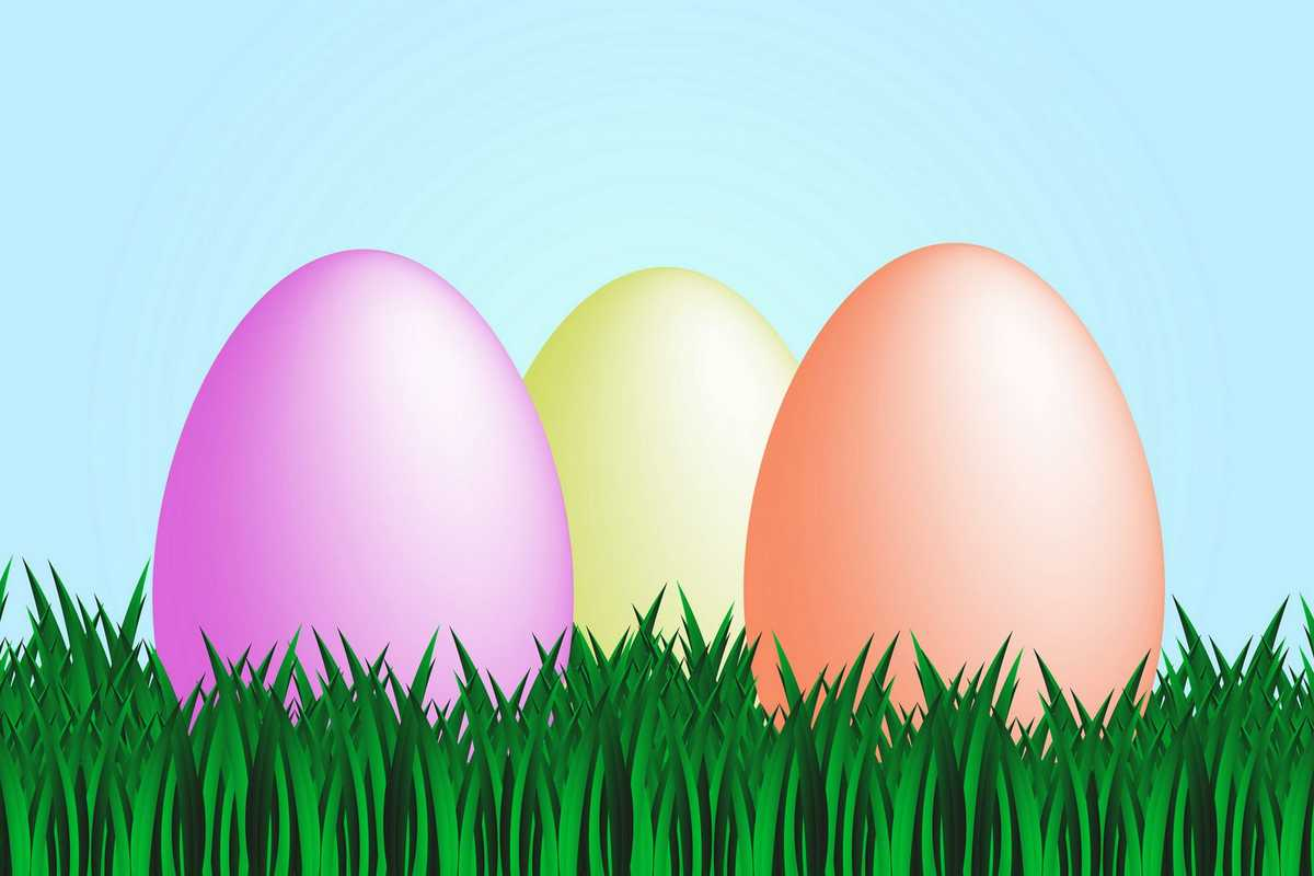 Image of three colorful Easter eggs